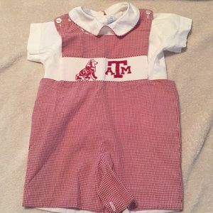 Texas A&M Aggie smocked romper